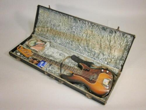A 1960s Fender electric Precision Bass guitar