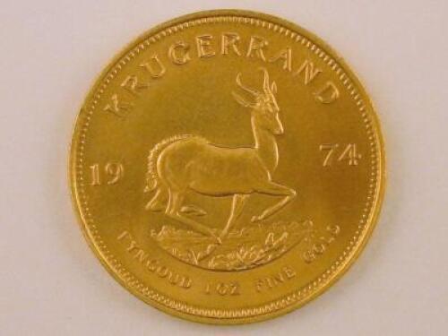 A 1974 South African gold Krugerrand.