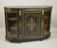 A Victorian ebonised and marquetry credenza