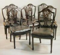 A set of eight late 19thC mahogany dining chairs in George III style