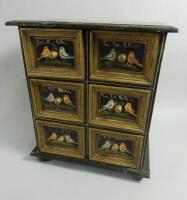 A Continental painted table top cabinet