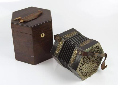 A 19thC concertina by C Jefferries