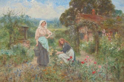 Henry John Yeend King (1855-1924). Maiden in floral cottage garden