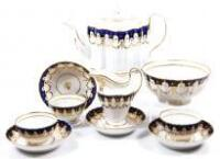 A late 18thC New Hall porcelain fluted part tea service