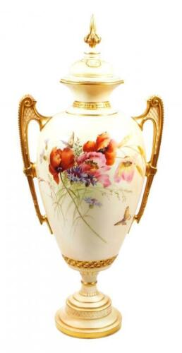 A Royal Worcester blush ivory centre vase and cover