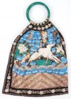 A 19thC Chinese embroidered bag