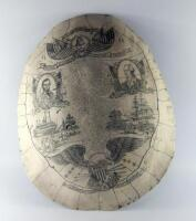 An American Independence reproduction scrimshaw shell