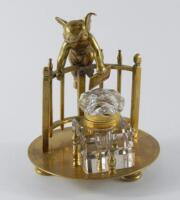 An early 20thC continental brass ink stand