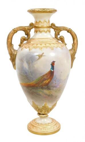 A Royal Worcester two handled vase