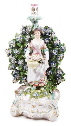 A large 18thC Derby porcelain figural candlestick