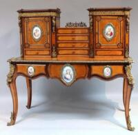 A 19thC exhibition quality bonheur de jour in the Louis XV manner attributed to Holland & Sons,