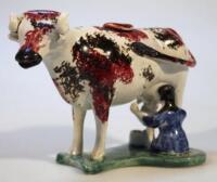 A Yorkshire prattware cow creamer