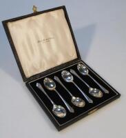 A cased set of six George VI silver teaspoons