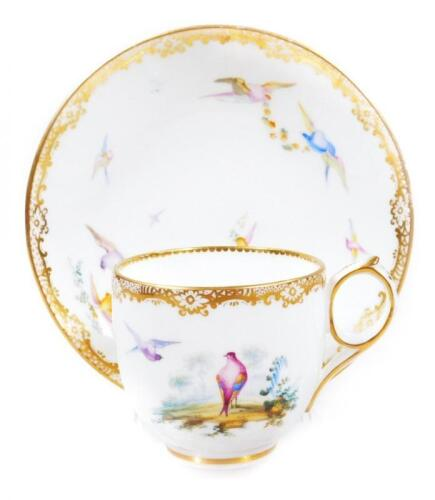 An early 19thC Coalport porcelain cup and saucer