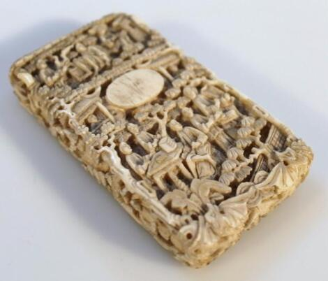 A 19thC Chinese ivory card case