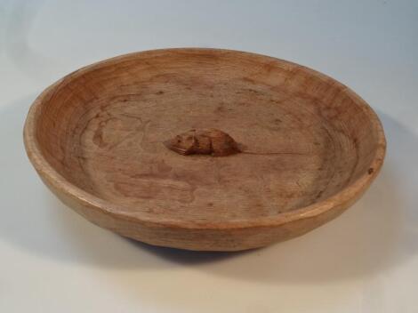 A mid 20thC Robert Thompson Mouseman oak fruit bowl