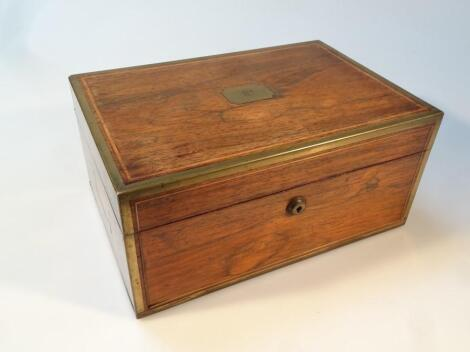 A 19thC rosewood and gilt metal campaign box