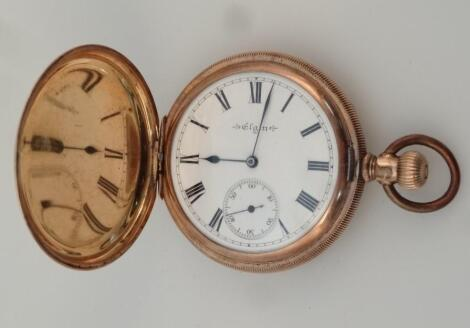 An early 20thC Elgin gold plated hunter pocket watch
