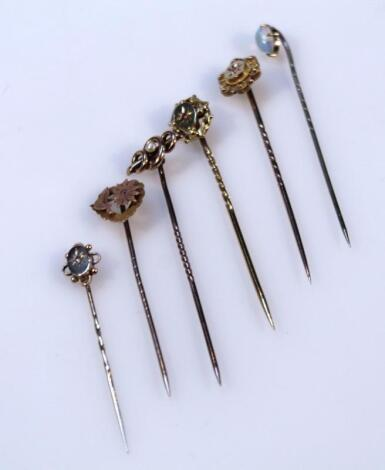 Six various stick pins