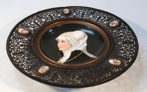 A hand painted Vienna style porcelain plaque