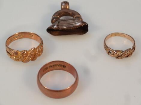 Three various 9ct gold rings