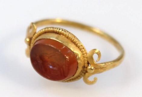 A Roman carnelian intaglio ring