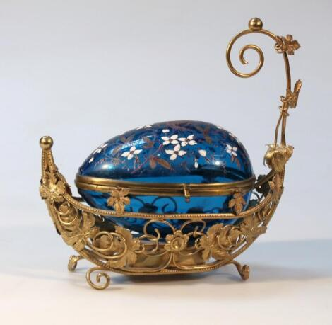 A Victorian style gilt metal wirework jewellery casket