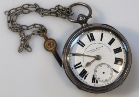 An Edwardian silver open face pocket watch