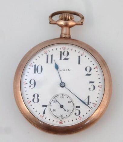 An Elgin gold plated pocket watch