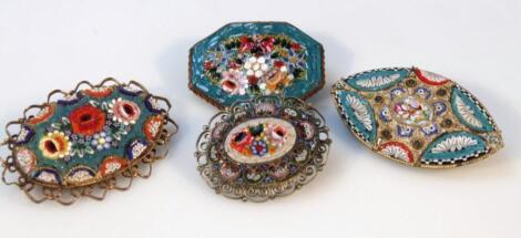 Various Italian micro mosaic brooches
