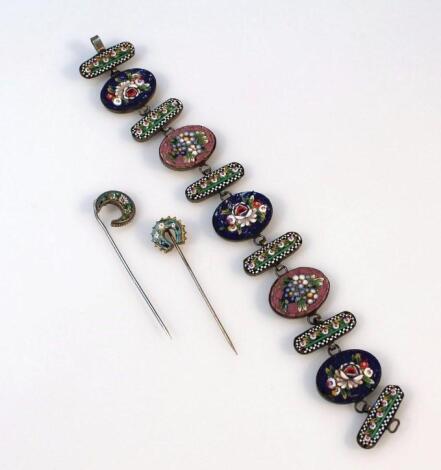 An early 20thC Italian micro mosaic bracelet
