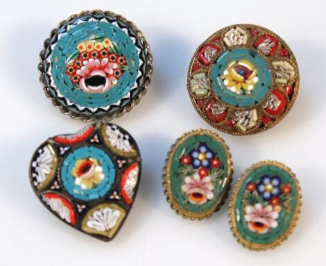 Various 20thC Italian micro mosaic jewellery
