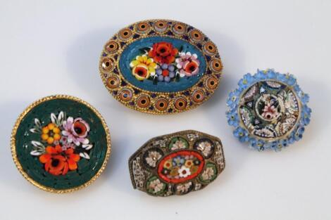 Various 20thC Italian micro mosaic brooches