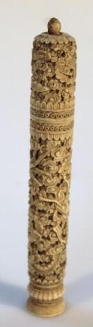 A 19thC ivory double ended needle case