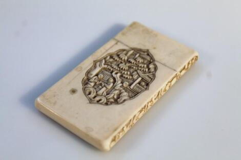 A late 19thC/early 20thC Chinese ivory card case