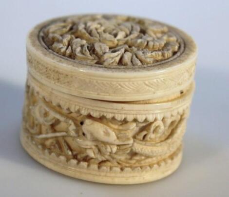 A 19thC Japanese ivory lidded jar