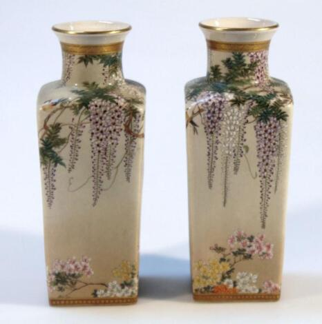 A pair of 19thC Japanese satsuma pottery vases