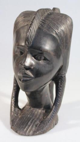 A 20thC African tribal hardwood head