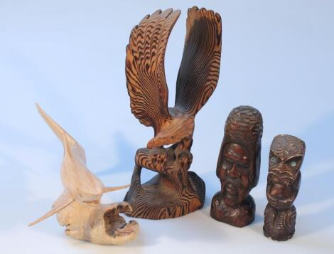 Various 20thC tribal and other hardwood carvings