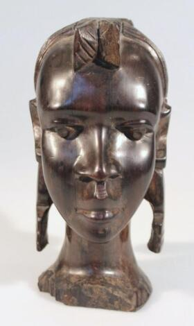 A 20thC African hardwood tribal head