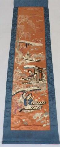 Four Chinese silk work panels