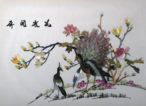 20thC Chinese School. Birds and flowers silk on an embroidered material back