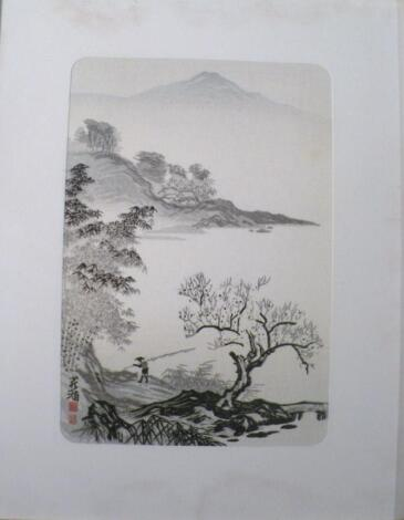 20thC Japanese School. Figure before mountains and tree before mountains