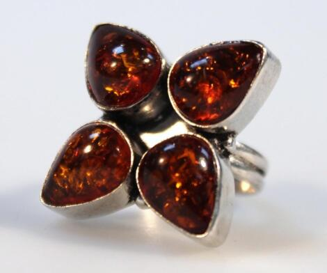 A Baltic amber ring