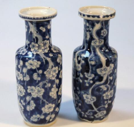 A pair of 19thC Chinese blue and white porcelain vases