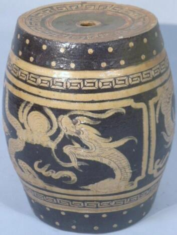 A Chinese glazed earthenware barrel seat