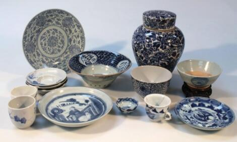 Various Chinese and Japanese blue and white earthenware and porcelain