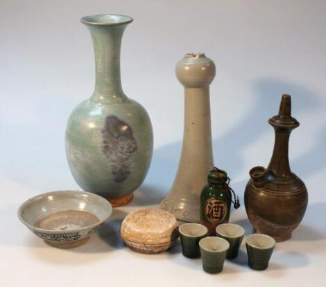 Various part glazed terracotta and other earthenware