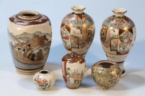 Various 19thC and later Japanese satsuma pottery