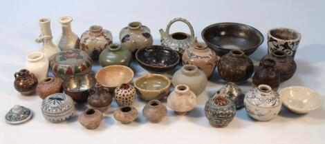 Various part glazed terracotta and earthenware vessels